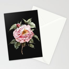 Wilting Pink Rose Watercolor on Charcoal Black Stationery Cards