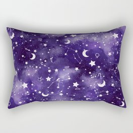 Zodiac Watercolor Ultraviolet Rectangular Pillow
