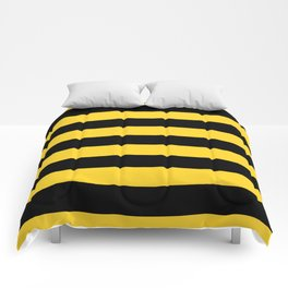 Yellow and Black Honey Bee Horizontal Cabana Tent Stripes Comforters
