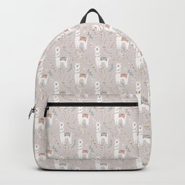 Sweet Llama on Gray Backpack