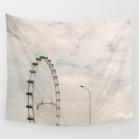 ferris wheel Wall Tapestries featuring Ferris wheel by Yuliya