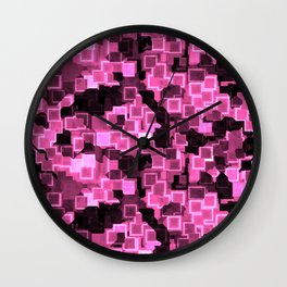 Pink Cyber Glow Neon Squares Pattern Wall Clock
