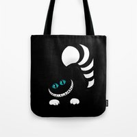 cheshire Tote Bags featuring Cheshire Grin by Sherry Yuan