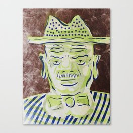 Green Face Man with Hat Cartoon Face Canvas Print