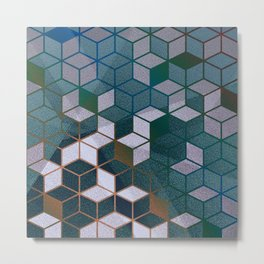 Muted Color Hexagons Blush Blue Mint Pattern Metal Print