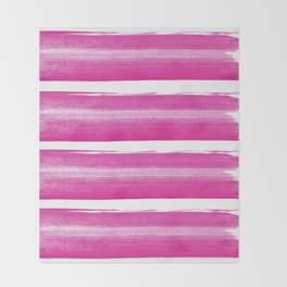 Simply handrawn pink stripes on white background Throw Blanket