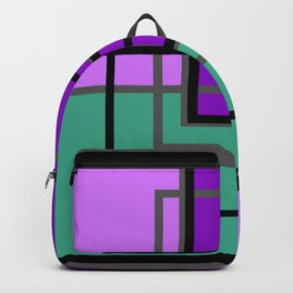 Geometric patchwork, green, turquoise Backpack
