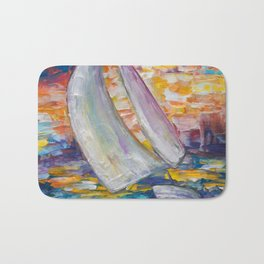 Sailing Boat by Lena Owens Bath Mat
