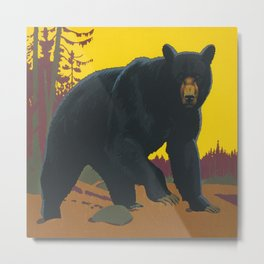 Black Bear Vintage Art Metal Print