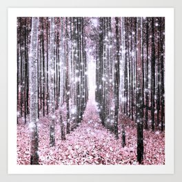 Magical Forest Pink Gray Elegance Art Print