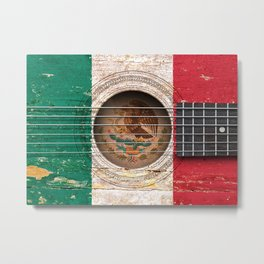 Old Vintage Acoustic Guitar with Mexican Flag Metal Print