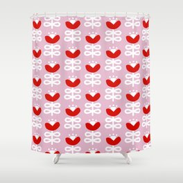 Pink and Red Scandi Floral Pattern Shower Curtain