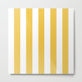 Maize (Crayola) orange - solid color - white vertical lines pattern Metal Print