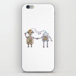 Cute robots in love II iPhone Skin