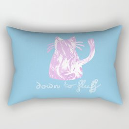 Down to Fluff Cute Cat Quote Blue and Pink Abstract Print Rectangular Pillow