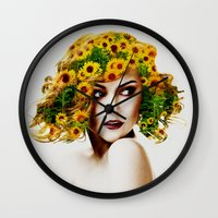 sunflowers Wall Clocks featuring Sunflowers by EclipseLio