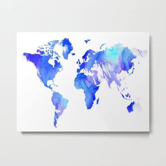 Watercolour World Metal Print