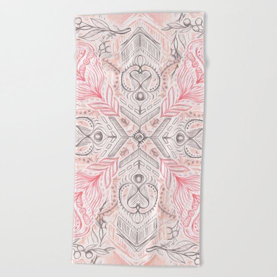 Peaches and Cream Doodle Tile Pattern Beach Towel