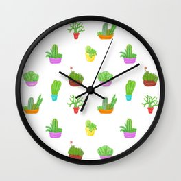 A Collection of Potted Cacti and Succulents Wall Clock