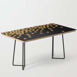 Gold Glitter Polka Dots Black Background Coffee Table