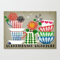 scandinavian Canvas Prints featuring Scandinavian Signature by Elisandra