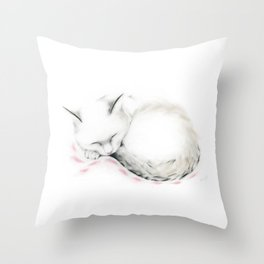 Cat Sleeping on a Pink Blanket Throw Pillow