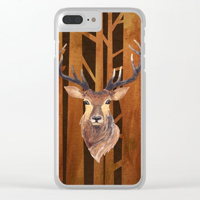 Proud deer in forest 1- Watercolor illustration Clear iPhone Case