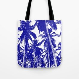 Palm Trees Design in Blue and White Tote Bag