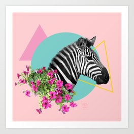 zebra and petunias Art Print