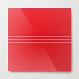 Fine Pink Lines on Red Metal Print