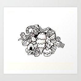 Kawaii Food Ink Art Print