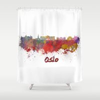 oslo Shower Curtains featuring Oslo skyline in watercolor by Paulrommer