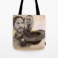 ripley Tote Bags featuring Jared Leto and Ripley the monkey by Jenn