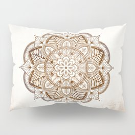 Mandala Brown Floral Moroccan Pattern on Beige Background Pillow Sham