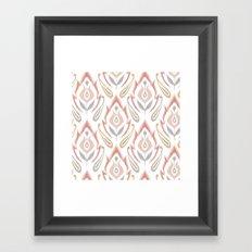 Peachy Ikat Framed Art Print