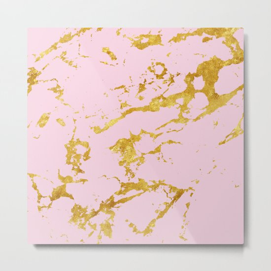 Luxury and glamorous gold glitter on lovely girly pink marble Metal Print