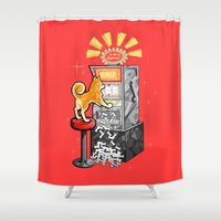 shiba inu Shower Curtains featuring Shiba Slots by  terrorbunnystudios