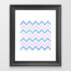 Blue Pink Textured Vintage Chevron Framed Art Print