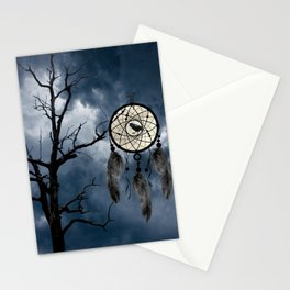 Black Bird Crow Tree Dream Catcher Night Moon A082 Stationery Cards