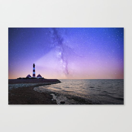 Lighthouse under the stars #photography Canvas Print