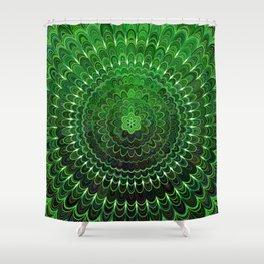 Green Flower Mandala Shower Curtain
