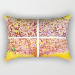 Paradise Tree, quadriptych, birds Rectangular Pillow
