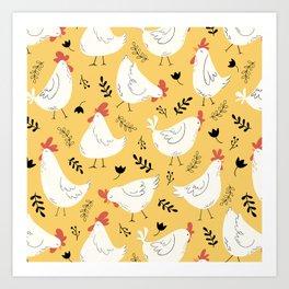 Lovely Little Hens Art Print