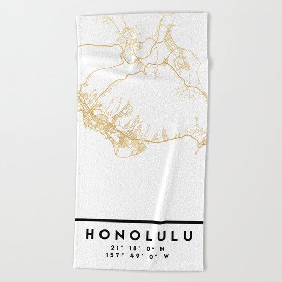 HONOLULU HAWAII CITY STREET MAP ART Beach Towel