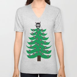 Catmas Tree Cats on Christmas Tree Unisex V-Neck