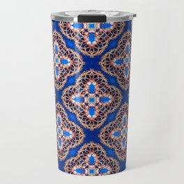 Beautiful Blue and Gold Beadwork Inspired Print Travel Mug