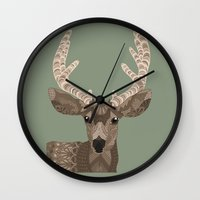 antlers Wall Clocks featuring Antlers by ArtLovePassion