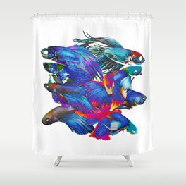 FIGHTING FISHES BETTA - Animals | Psychedelic | 70's | Abstract | Pop | Surrealism | Nature Shower Curtain
