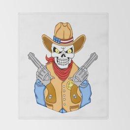 Western Cowboy Skull Throw Blanket