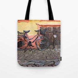 Bicycle On Cobblestone Sidewalk Tote Bag